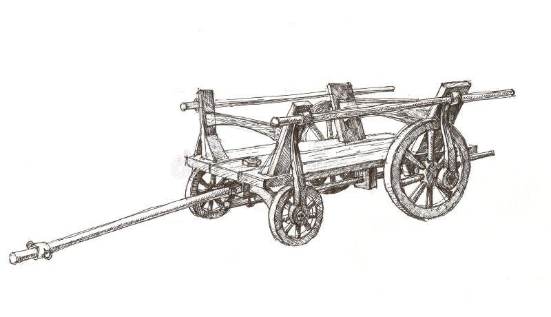 croquis de chariot en bois illustration libre de droits