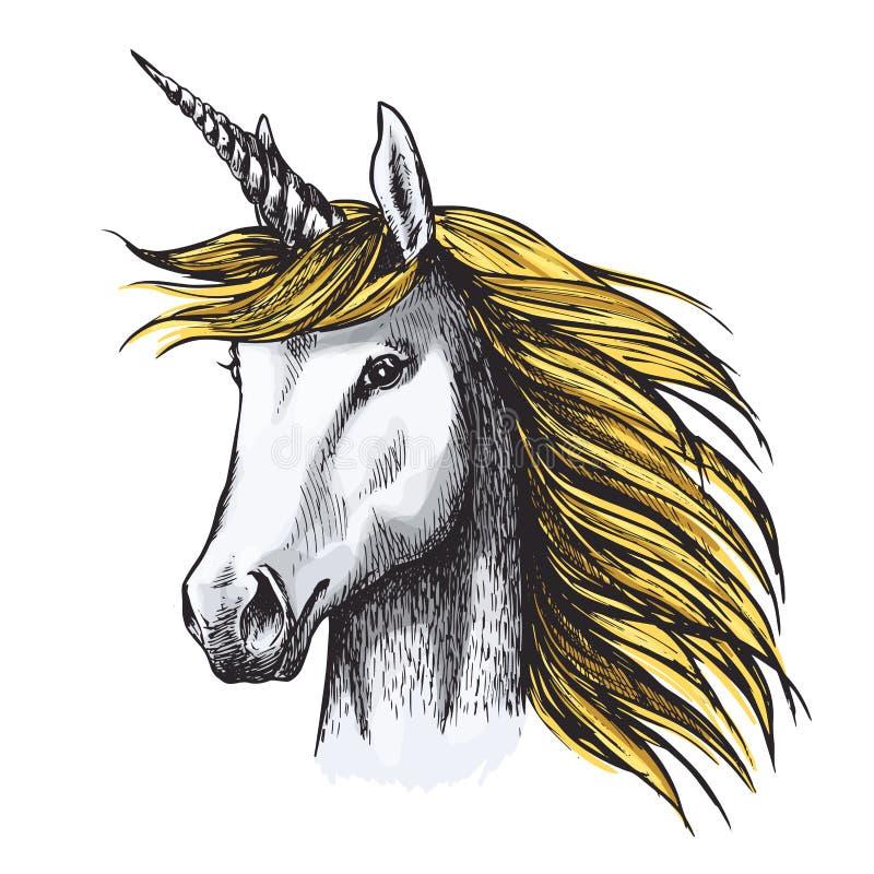Croquis de cheval de licorne de fée ou d'animal héraldique illustration stock