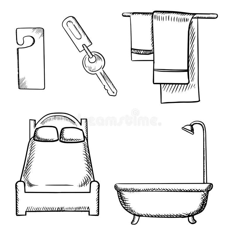 Croquis de clé, d'étiquette de porte, de lit, de salle de bains et de serviettes illustration de vecteur