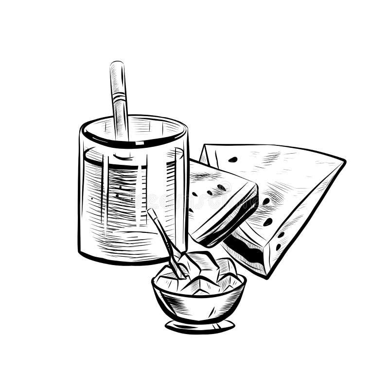 Croquis de cocktail illustration de vecteur