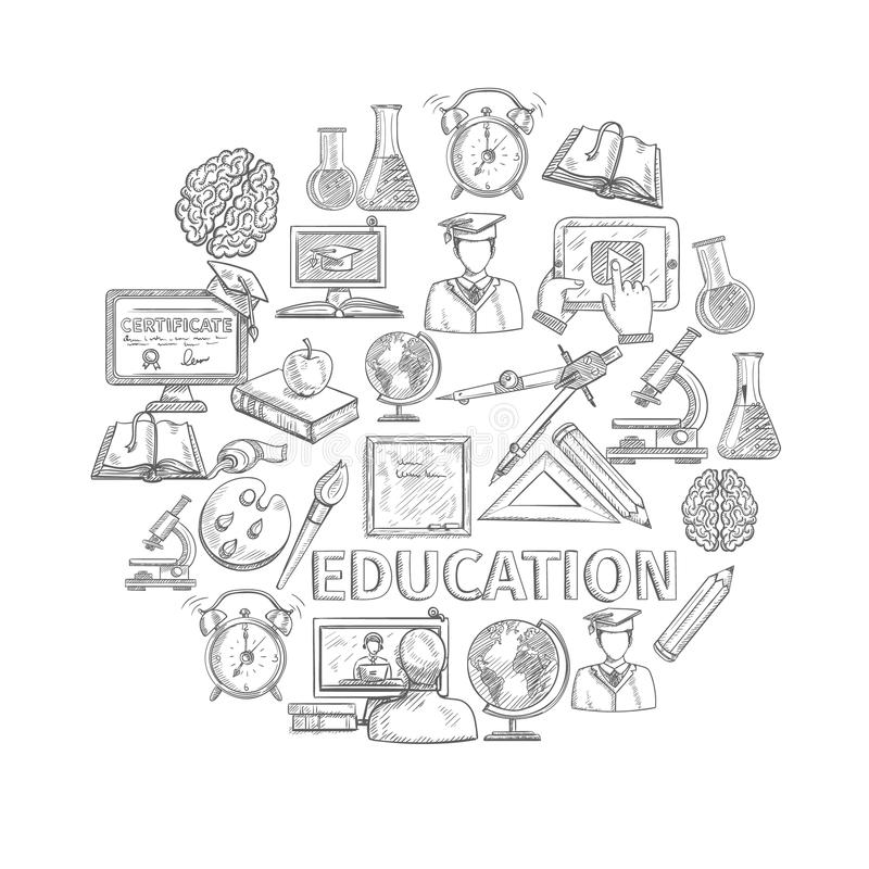 Croquis de concept d'éducation illustration stock