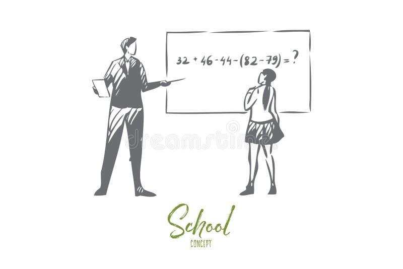 Croquis de concept de leçon de maths Illustration d'isolement de vecteur illustration stock