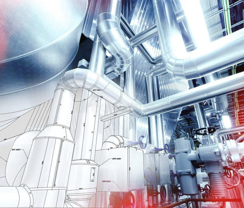Croquis de conception de tuyauterie avec la photo d'équipement industriel  photo libre de droits