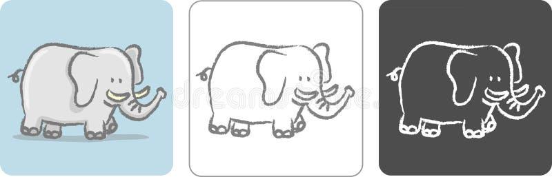 Croquis de couleur d'éléphant illustration libre de droits