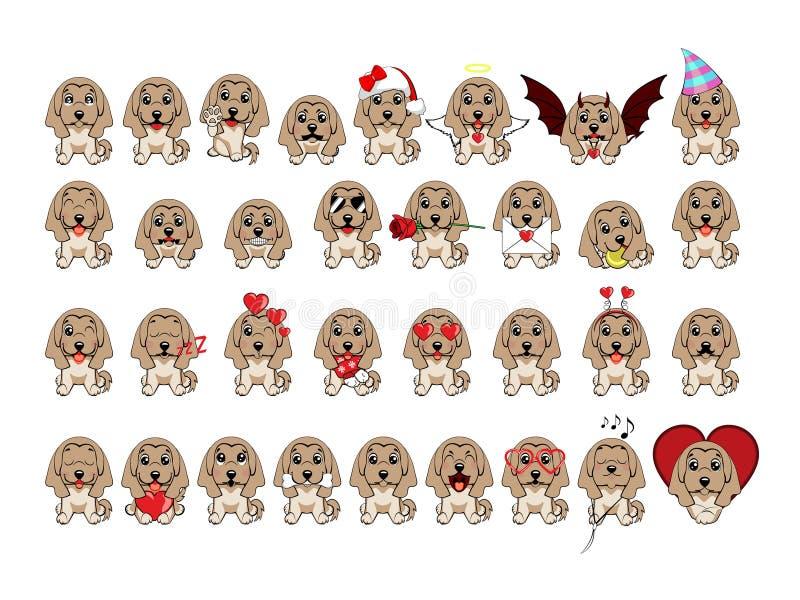 Croquis de couleur d'un chien Race de lévrier afghan Grand ensemble de différents petits chiens illustration de vecteur