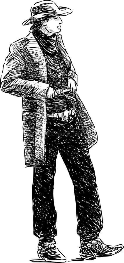 Croquis de cowboy illustration stock