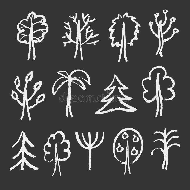 Croquis de craie de mode des arbres illustration libre de droits