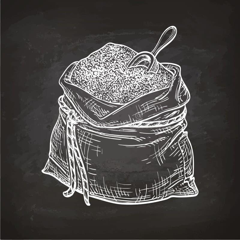 Croquis de craie de sac de farine illustration stock