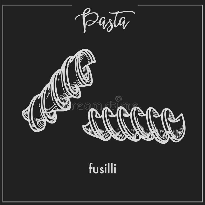 Croquis de craie de spirale de Fusilli de pâtes pour le menu de cuisine ou la conception d'emballage italien sur le fond noir illustration de vecteur