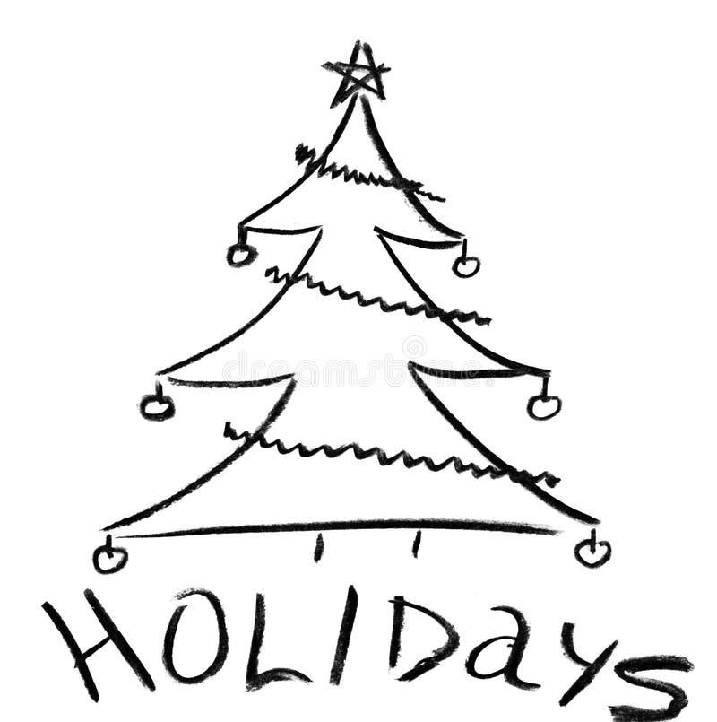 Croquis de crayon d'arbre de Noël illustration libre de droits