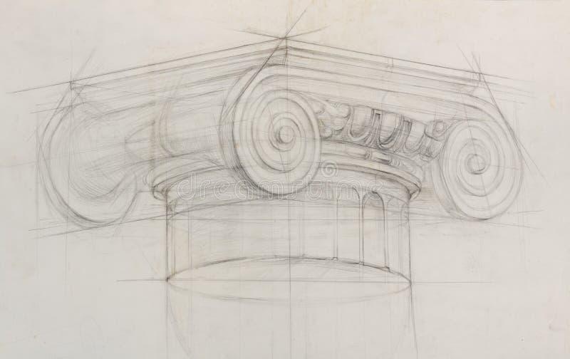 Croquis de crayon de colonne capitale ionique illustration de vecteur