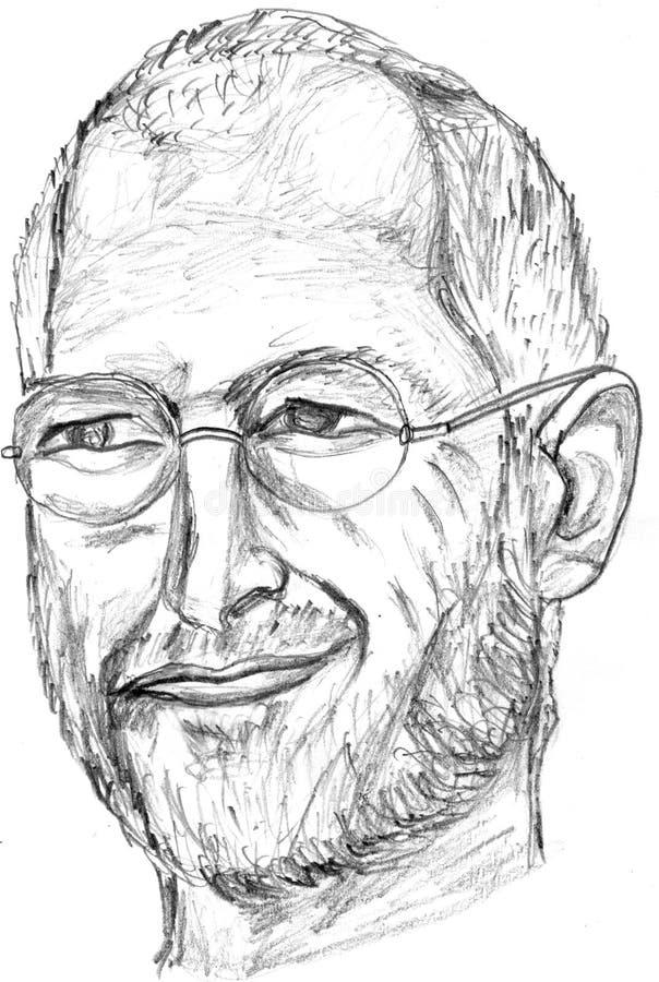 Croquis de crayon de Steve Jobs illustration stock