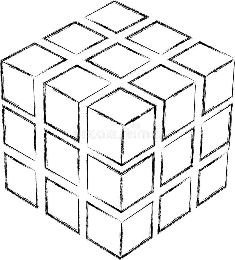 Croquis de cube photo libre de droits