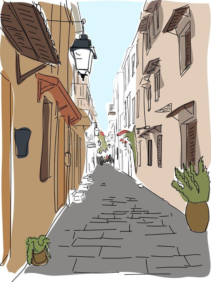 Croquis de déplacement de rue de la Grèce d'Européen illustration stock