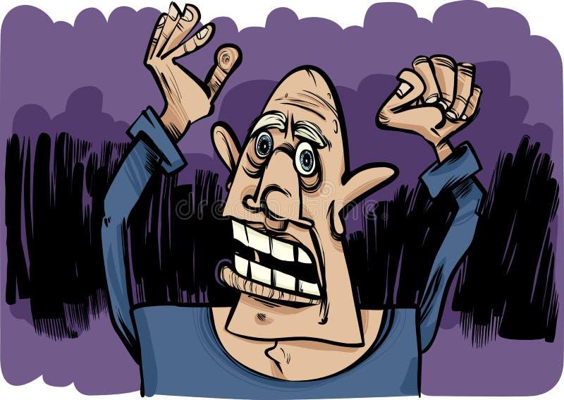 Croquis de dessin animé d'homme effrayé illustration de vecteur