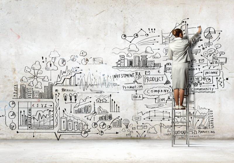 Croquis de dessin de femme d'affaires image stock