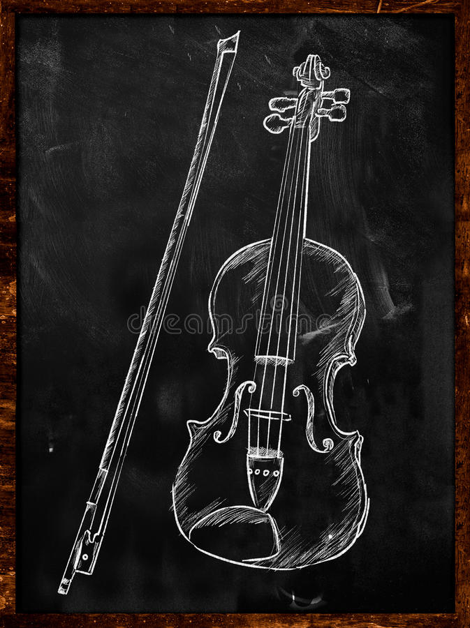 croquis de dessin de violon sur le tableau noir illustration stock illustration du blackboard. Black Bedroom Furniture Sets. Home Design Ideas