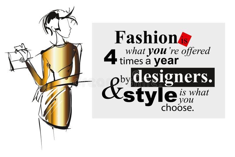 Croquis de fille de mode Une fille avec un sac à main illustration de vecteur
