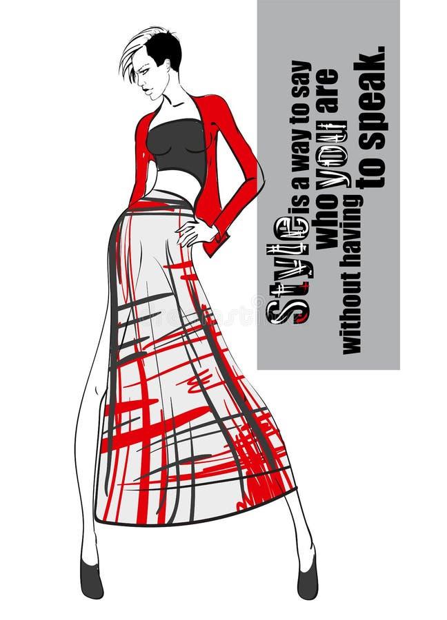 Croquis de fille de mode Une fille dans une robe et une citation à la mode illustration stock