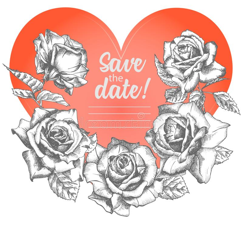 Croquis de fleur de Rose en gravant le style et le coeur rouge sur le blanc Carte de jour de valentines d'illustration de vecteur illustration de vecteur
