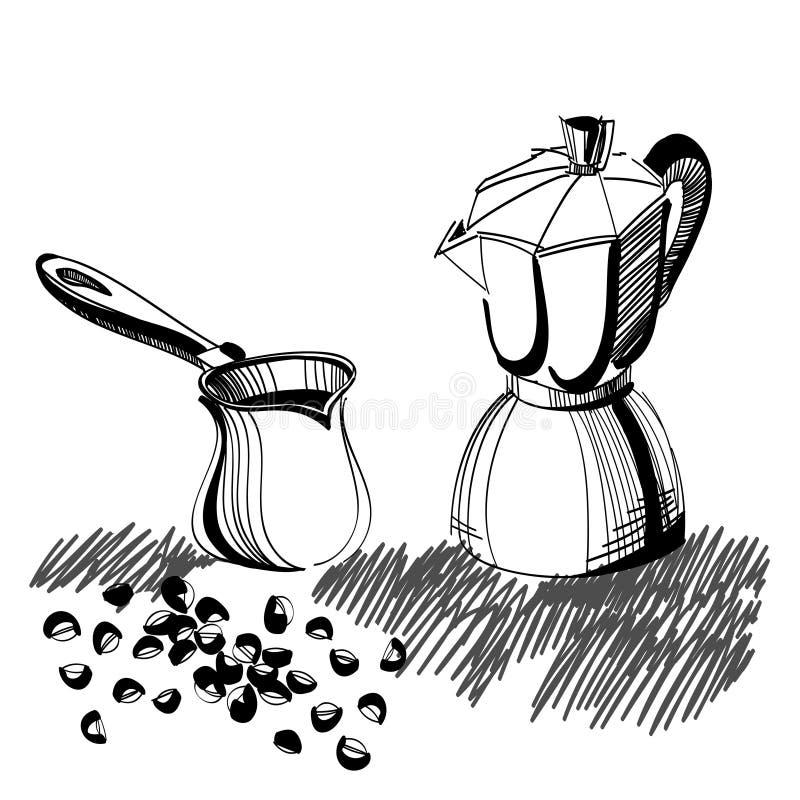Croquis de générateur de café de moka et de cezve turc illustration libre de droits