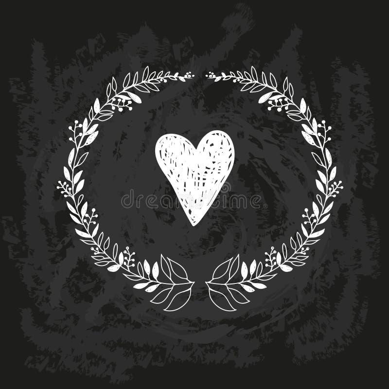 Croquis de griffonnage de craie de vecteur de guirlande sur le tableau noir illustration stock