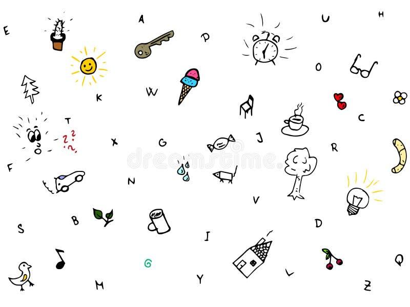 Croquis de griffonnage de symboles, ensemble de vecteur illustration libre de droits