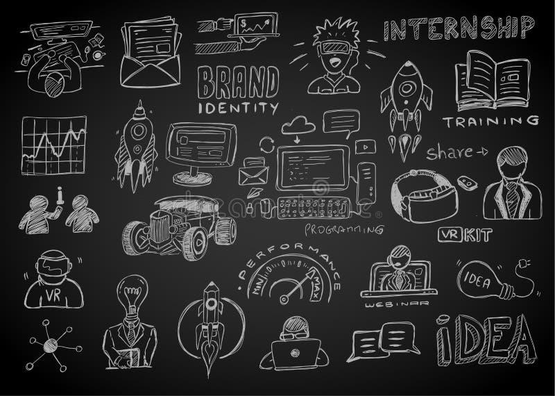 Croquis de griffonnages d'affaires réglé : éléments d'infographics d'isolement, VE illustration stock