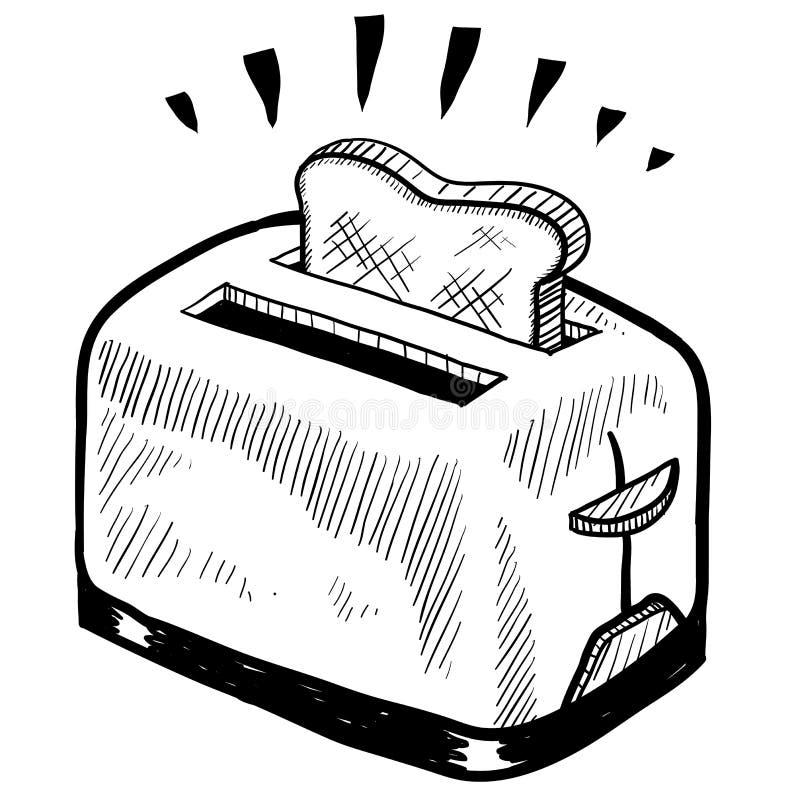 Croquis de grille-pain illustration stock