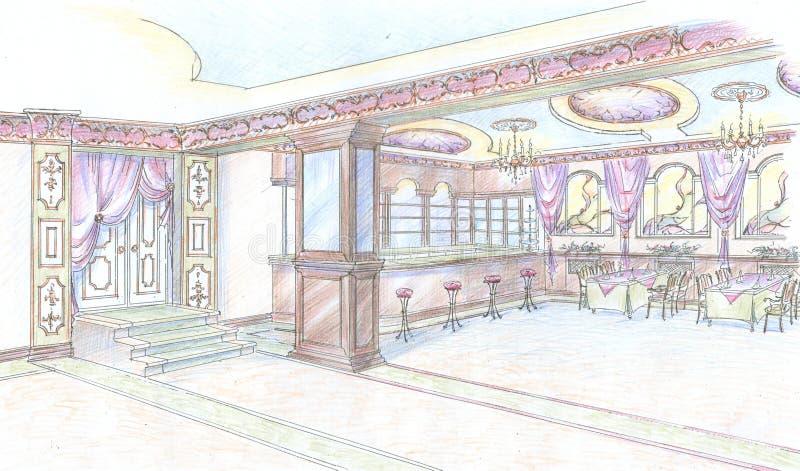 Croquis de hall de restaurant avec le bar illustration for Fourniture restaurant