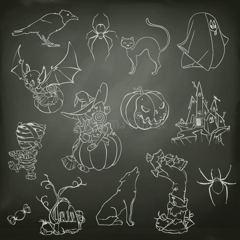 Croquis de Halloween des icônes illustration stock