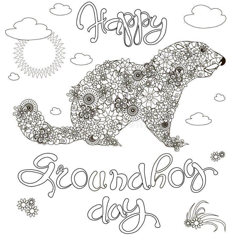 Croquis de jour de Groundhog heureux de bannière, groundhog floral, anti bière brune de coloration d'effort illustration de vecteur