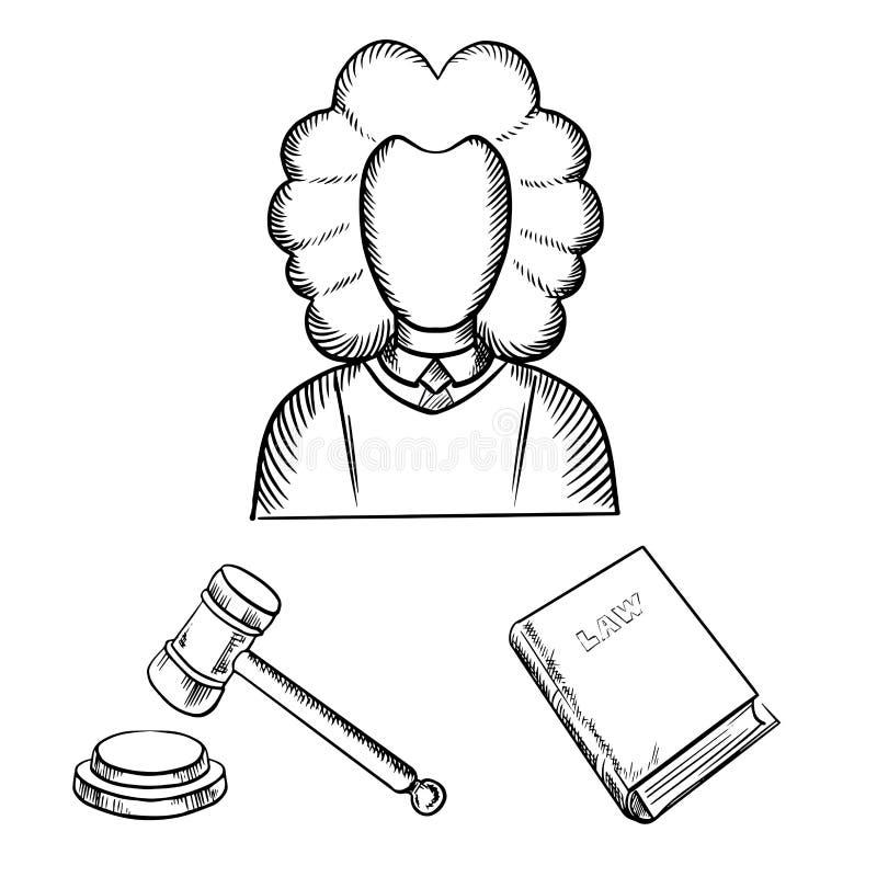 Croquis de juge, de marteau et de livre de loi illustration de vecteur