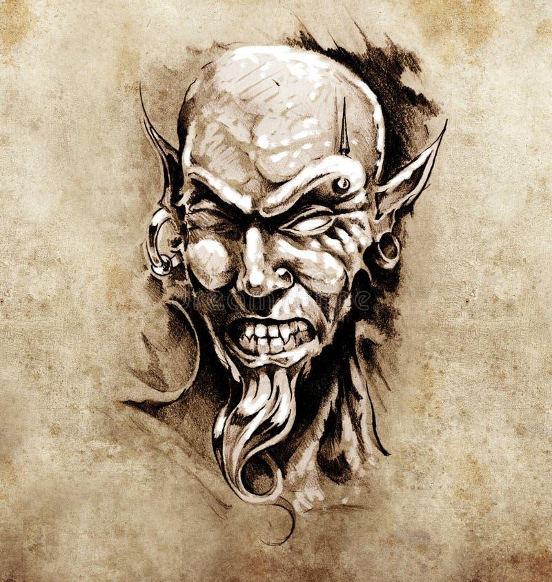 Croquis de l'art de tatouage, tête de diable avec la perforation illustration stock