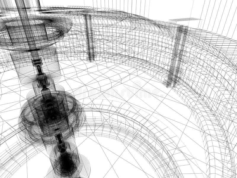 Croquis de la construction de technologie illustration de vecteur