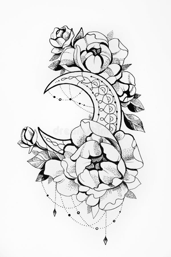 Croquis de la lune avec des fleurs sur un fond blanc illustration libre de droits