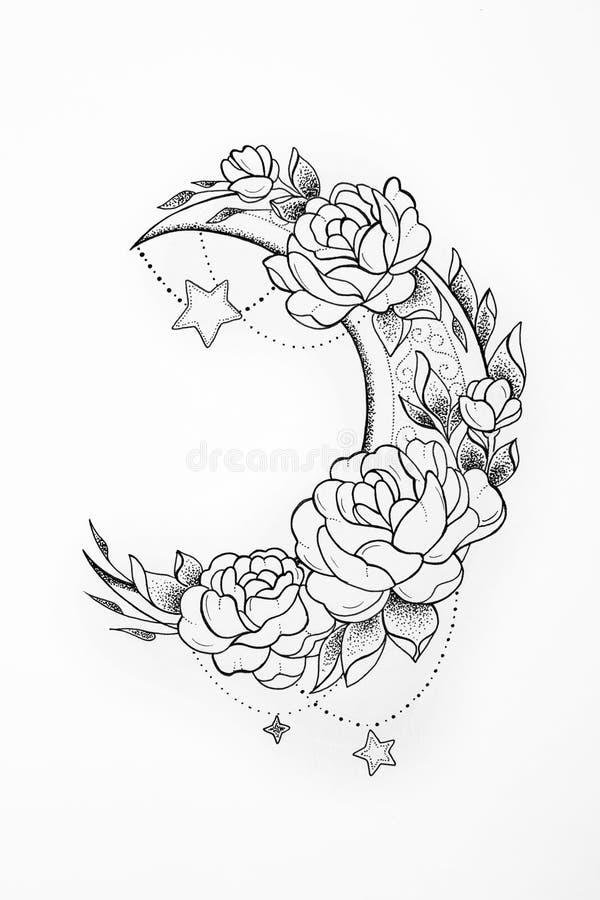 Croquis de la lune en couleurs sur un fond blanc illustration stock