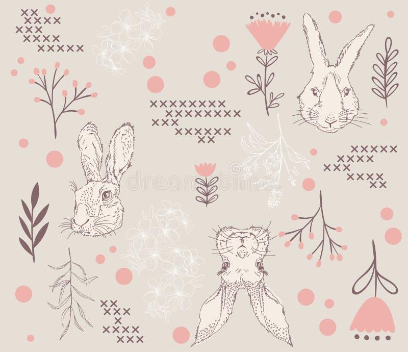 Croquis de lapin et modèle de répétition illustration libre de droits