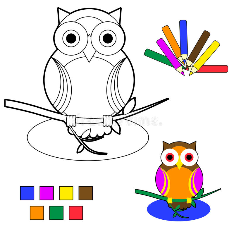 Croquis de livre de coloration : hibou illustration stock