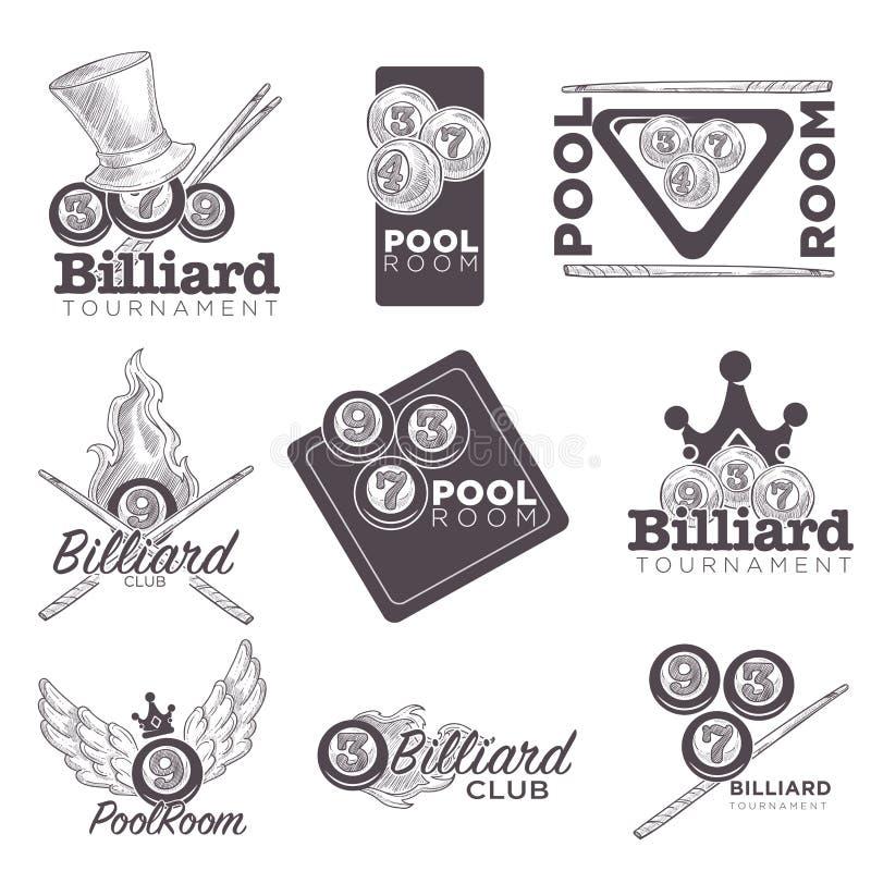 Croquis de logo de vecteur de billard ou de salle de billard rétro pour le championnat c illustration stock