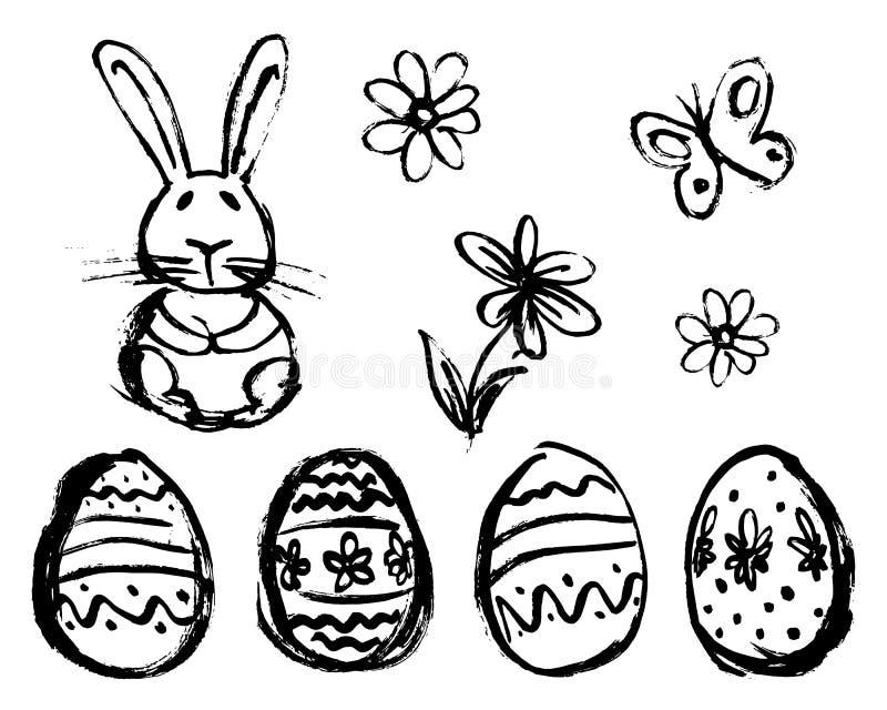 Croquis de main des éléments de Pâques illustration libre de droits