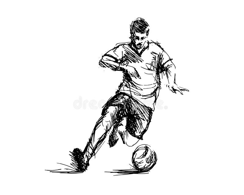 Croquis de main du football Illustration de vecteur illustration stock