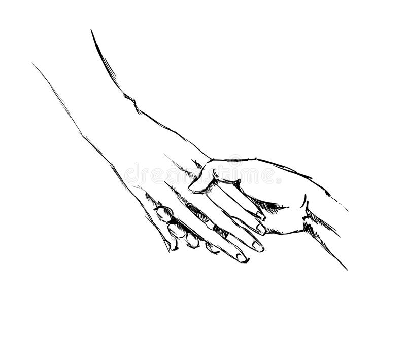 Croquis de main tenant des mains illustration libre de droits