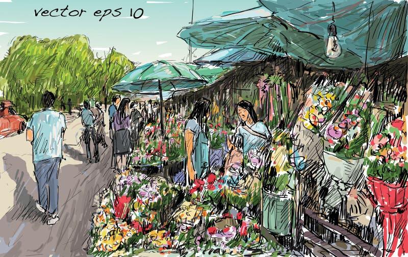 Croquis de marché de fleur d'exposition de paysage urbain sur la rue dans thaïlandais, illutr illustration de vecteur