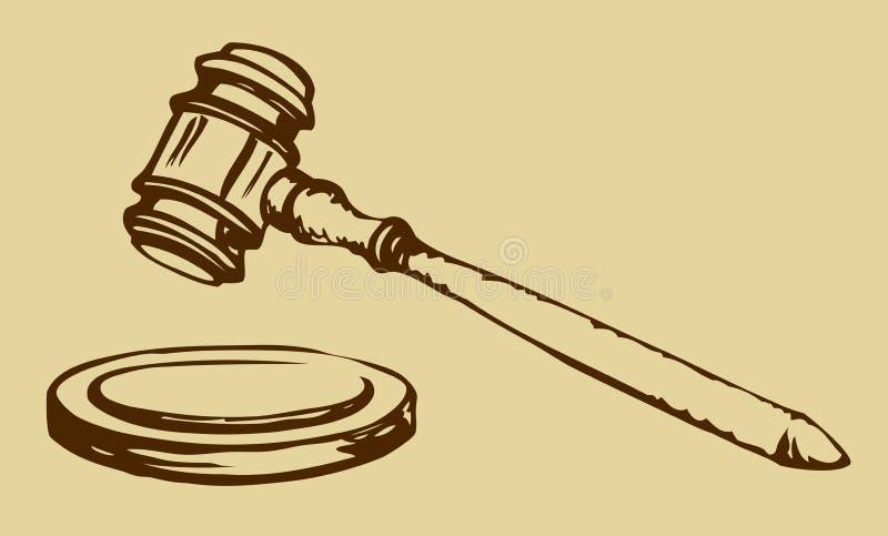 Croquis de marteau de juge illustration stock