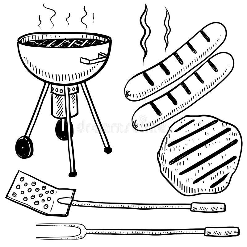 Croquis de matériel de barbecue d'arrière-cour illustration stock