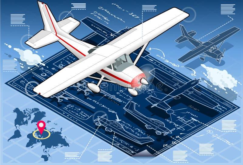 Croquis de mise au point d'avion isométrique d'Infographic illustration stock