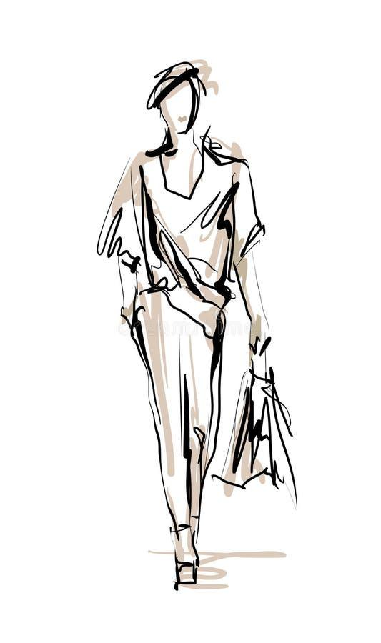 Croquis de modèle de mode illustration libre de droits