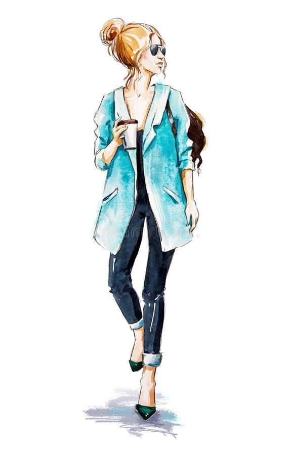 Croquis de mode Style de rue Fille avec du café illustration stock