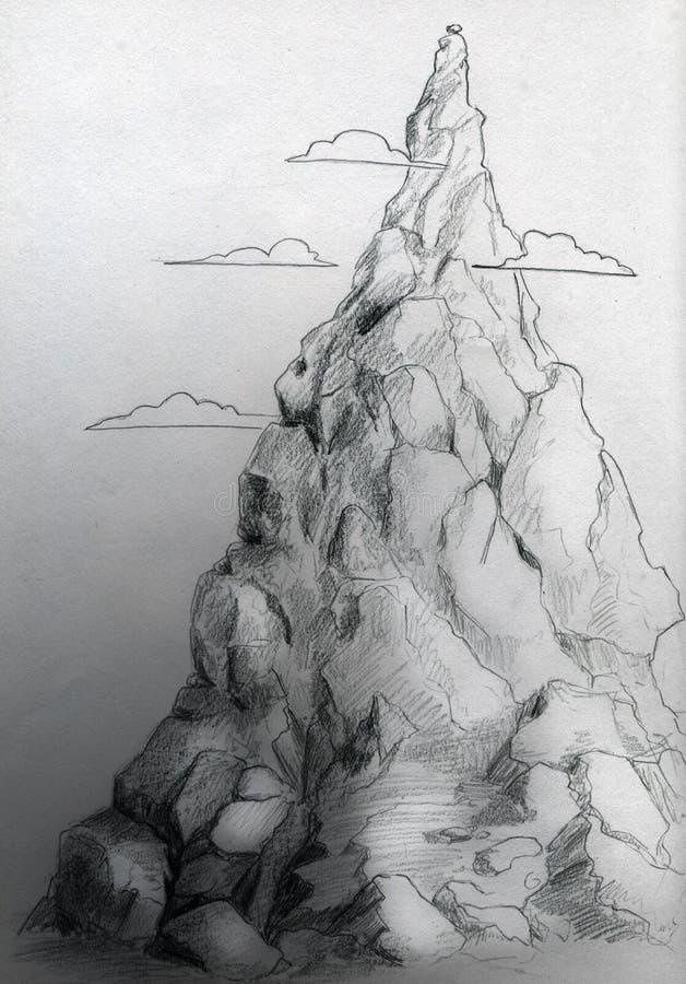 Croquis de montagne illustration de vecteur